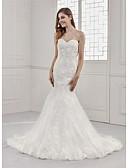 baratos Vestidos de Casamento-Sereia Decote Princesa Cauda Corte Renda / Cetim / Tule Sem Alças Sensual / Pretíssimos Vestidos de casamento feitos à medida com Apliques / Renda 2020
