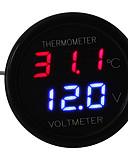 ราคาถูก เคสสำหรับโทรศัพท์มือถือ-รถนำดิจิตอลสีแดง&จอแสดงผลสีน้ำเงิน 2 in 1 dual voltmeter เทอร์โมมิเตอร์ 12v