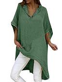 baratos Camisas Femininas-Mulheres Camiseta Sólido Decote V Solto Preto