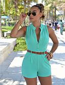 ราคาถูก จั๊มสูทและเสื้อคลุมสำหรับผู้หญิง-สำหรับผู้หญิง พื้นฐาน / Street Chic กางเกงขาสั้น กางเกง - สีพื้น เอวสูง สีเหลือง สีเขียวอ่อน สีบานเย็น L XL XXL
