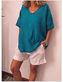 ราคาถูก เสื้อยืดสำหรับสุภาพสตรี-สำหรับผู้หญิง ขนาดพิเศษ เสื้อเชิร์ต สีพื้น สีเขียวอ่อน