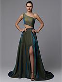 Χαμηλού Κόστους Βραδινά Φορέματα-Γραμμή Α Ένας Ώμος Ουρά μέτριου μήκους Με πούλιες Φανταχτερό Επίσημο Βραδινό Φόρεμα 2020 με Πούλιες