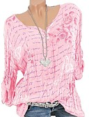 cheap Women's Blouses-Women's Basic Plus Size T-shirt - Geometric Print V Neck Blushing Pink