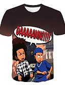 povoljno Kratke hlače-Veći konfekcijski brojevi Majica s rukavima Muškarci - Osnovni Dnevno / Ulica 3D / Portret Okrugli izrez Print Crn XXXXL / Kratkih rukava