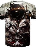 ราคาถูก เสื้อยืดและเสื้อกล้ามผู้ชาย-สำหรับผู้ชาย เสื้อเชิร์ต ลายพิมพ์ คอกลม 3D / กระโหลก สีดำ