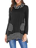 billige T-skjorter til damer-Store størrelser T-skjorte Dame - Ensfarget, Flettet / Lapper Elegant Svart