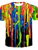 billige Rustfritt stål-Rund hals T-skjorte Herre - Regnbue, Trykt mønster Regnbue
