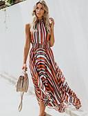 זול שמלות מקסי-א-סימטרי דפוס, פסים - שמלה סווינג רזה בגדי ריקוד נשים