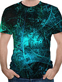 billige T-skjorter og singleter til herrer-Rund hals Store størrelser T-skjorte Herre - 3D, Trykt mønster Marineblå / Kortermet