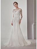 ราคาถูก Special Occasion Dresses-ทรัมเป็ต / เมอร์เมด ไหล่ตก ชายกระโปรงคอร์ท ชิฟฟอน / ลูกไม้ ชุดแต่งงานที่ทำขึ้นเพื่อวัด กับ เข็มกลัด / ลูกไม้ / จับจีบ โดย ANGELAG