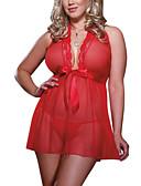 povoljno Ogrtači i odjeća za spavanje-Žene Čipka Veći konfekcijski brojevi Sexy Babydoll / slip haljina Noćno rublje Geometrijski oblici Red XL XXL XXXL