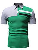 ราคาถูก เสื้อโปโลสำหรับผู้ชาย-สำหรับผู้ชาย ขนาดของยุโรป / อเมริกา Polo ฝ้าย ลายต่อ คอเสื้อเชิ้ต ลายบล็อคสี สีดำ
