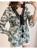 זול חולצות לגברים-גיאומטרי צווארון V בסיסי מידות גדולות חולצה - בגדי ריקוד נשים תחרה / פרחוני / דפוס תלתן / אביב / קיץ / סתיו