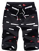 ราคาถูก กางเกงผู้ชาย-สำหรับผู้ชาย พื้นฐาน เพรียวบาง กางเกงขาสั้น กางเกง - ลายพิมพ์ ขาว สีดำ สีฟ้า XXXXXL XXXXXXL 8XL