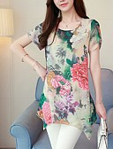 billige Skjorter til damer-Tynn Store størrelser Skjorte Dame - Blomstret Fuksia