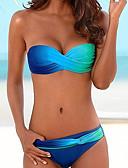 ราคาถูก ชุดบิกินี-สำหรับผู้หญิง พื้นฐาน สีน้ำเงิน ทับทิม สีแดงชมพู ผ้าพันผมสตรี เอวสูง บิกินี่ ชุดว่ายน้ำ - สีพื้น M L XL สีน้ำเงิน