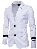 זול ז'קטים-לבן / שחור אחיד גזרה צרה כותנה חליפה - פתוח Single Breasted Two-button
