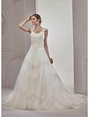 billiga Brudklänningar-A-linje Hjärtformad urringning Hovsläp / Katedralsläp Spets / Tyll Remmar Sexig / Vacker i svart Bröllopsklänningar tillverkade med Applikationsbroderi / Spets 2020