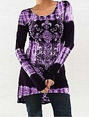billige T-skjorter til damer-T-skjorte Dame - Blomstret / 3D, Lapper / Trykt mønster Svart