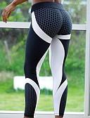 baratos Calças Femininas-Mulheres Básico Legging - Estampado, Estampado Cintura Alta Preto Cinzento M L XL / Delgado
