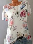 baratos Calças Femininas-Mulheres Tamanhos Grandes Camiseta Geométrica Delgado Roxo