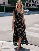 זול שמלות מודפסות-V עמוק מקסי דפוס, מנוקד - שמלה שיפון בסיסי בגדי ריקוד נשים
