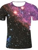 זול טישרטים לגופיות לגברים-גלקסיה / 3D / גראפי צווארון עגול הדפסת תלת מימד / גלקסיה מידות גדולות כותנה, טישרט - בגדי ריקוד גברים דפוס סגול