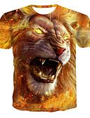 ราคาถูก เสื้อฮู้ดและเสื้อกันหนาว-สำหรับผู้ชาย เสื้อเชิร์ต ลายพิมพ์ คอกลม 3D / สัตว์ สีเหลือง
