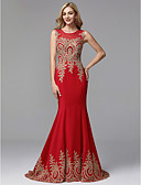 Χαμηλού Κόστους Φορέματα Χορού Αποφοίτησης-Τρομπέτα / Γοργόνα Με Κόσμημα Μακρύ Spandex / Τούλι Κινέζικο Στυλ / Κομψό / Beaded & Sequin Χοροεσπερίδα / Επίσημο Βραδινό Φόρεμα 2020 με Διακοσμητικά Επιράμματα / Εισαγωγή δαντέλας