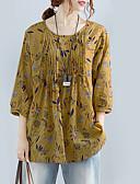 billige Bluser-Bomull Løstsittende Store størrelser Skjorte Dame - Blomstret Grønn