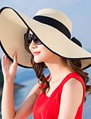 ราคาถูก หมวกสตรี-สำหรับผู้หญิง ลายบล็อคสี Straw ซึ่งทำงานอยู่ พื้นฐาน สไตล์น่ารัก-หมวกสาน ดวงอาทิตย์หมวก ฤดูร้อน ตก สีแดงชมพู ผ้าขนสัตว์สีธรรมชาติ สีม่วง