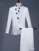 ราคาถูก ทักซิโด้-สำหรับผู้ชาย ชุด คอแสตนด์ เส้นใยสังเคราะห์ ขาว / เพรียวบาง