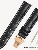billige Leather Watch Band-svart klokke med krokodille lærremme menn og kvinner butterfly spenne for armani tianwang tissot dw burger 16/18/19/20/21 / 22mm