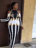 Χαμηλού Κόστους Print Dresses-Γυναικεία Εκλεπτυσμένο Κομψό Λεπτό Θήκη Φόρεμα - Ριγέ Γεωμετρικό, Με κοψίματα Μακρύ