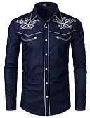 povoljno Muške košulje-Veličina EU / SAD Majica Muškarci - Kaubojski / Tradicionalni / klasični Pamuk Color block / Grafika Klasični ovratnik Vezeno Obala