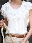 ราคาถูก เสื้อเอวลอยสำหรับผู้หญิง-สำหรับผู้หญิง ขนาดพิเศษ เสื้อสตรี สีพื้น ขาว