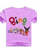 baratos Blusas para Meninas-Infantil Bébé Para Meninas Básico Estampado Estampado Manga Curta Algodão Camiseta Rosa
