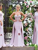 זול שמלות שושבינה-בתולת ים \ חצוצרה צווארון V / לב (סוויטהארט) שובל סוויפ \ בראש ג'רסי שמלה לשושבינה  עם אפליקציות על ידי JUDY&JULIA