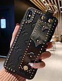 זול מגנים לאייפון-מגן עבור Apple iPhone XS / iPhone XR / iPhone XS Max עם מעמד / עשה זאת בעצמך כיסוי אחורי תבנית גאומטרית רך עור אמיתי