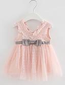 זול שמלות לתינוקות-שמלה כותנה מעל הברך ללא שרוולים פפיון / רקום אחיד / סרוג פעיל / סגנון רחוב בנות תִינוֹק / פעוטות