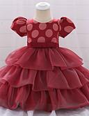 זול שמלות לתינוקות-שמלה כותנה עד הברך שרוולים קצרים פפיון / שכבות מרובות מנוקד פעיל / בסיסי בנות תִינוֹק