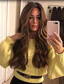 billiga Mobiltelefon kablar-Syntetiska peruker Kinky Rakt Middle Part Peruk Lång Blond Syntetiskt hår 22 tum Dam Dam Mörkbrun