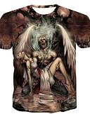 ราคาถูก เสื้อยืดและเสื้อกล้ามผู้ชาย-สำหรับผู้ชาย เสื้อเชิร์ต ลายพิมพ์ คอกลม ลายบล็อคสี / 3D / กระโหลก สีน้ำตาลอ่อน