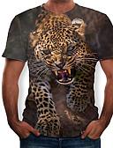 ราคาถูก เสื้อยืดและเสื้อกล้ามผู้ชาย-สำหรับผู้ชาย เสื้อเชิร์ต คอกลม เพรียวบาง รูปเรขาคณิต / 3D สีน้ำตาล