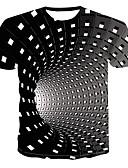 baratos Camisetas & Regatas Masculinas-Homens Tamanhos Grandes Camiseta Moda de Rua / Punk & Góticas Estampado, Geométrica / 3D Decote Redondo Preto / Manga Curta