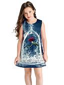 povoljno Haljine za djevojčice-Djeca Djevojčice Crtani film Haljina Navy Plava