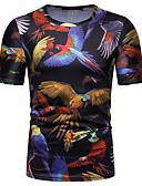 ราคาถูก เบลเซอร์ &สูทผู้ชาย-สำหรับผู้ชาย เสื้อเชิร์ต พื้นฐาน ลายพิมพ์ คอกลม สัตว์ สีดำ L