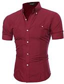 baratos Camisas Masculinas-Homens Camisa Social Sólido / Estampa Colorida Algodão Colarinho Clássico Roxo