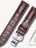 Χαμηλού Κόστους Δερμάτινο ρολόι-γνήσιο δέρμα / Δερμάτινο / Τρίχα Μοσχαριού Παρακολουθήστε Band Λουρί για Μαύρο / Καφέ 17 εκατοστά / 6.69 ίντσες / 18 εκατοστά / 7 ίντσες / 19 εκατοστά / 7,48 ίντσες 1.4cm / 0.55 Ίντσες / 1.6cm / 0.6