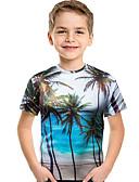 baratos Moletons Para Meninos-Infantil Bébé Para Meninos Activo Boho Geométrica Estampado 3D Estampado Manga Curta Camiseta Azul Claro